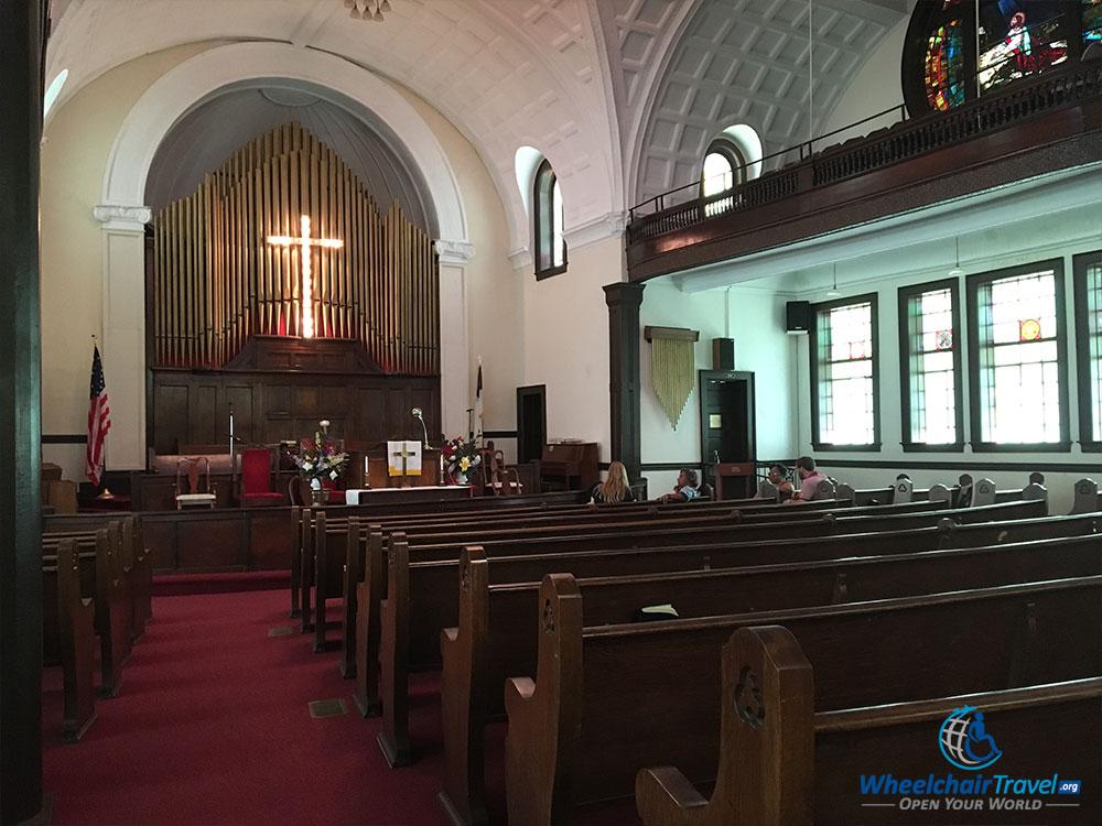 Sanctuary of worship inside the Brown Chapel A.M.E. Church in Selma, Alabama