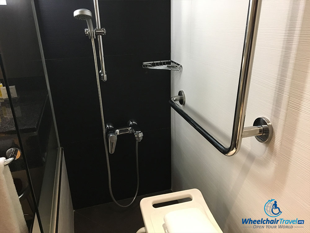 Water controls and grab bars inside the roll-in shower.