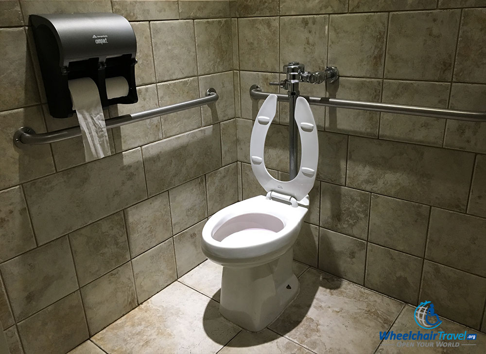 ADA accessible toilet at Medieval Times castle.