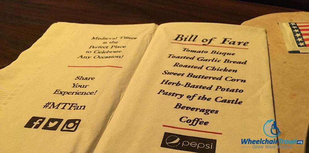 Medieval Times dinner menu.