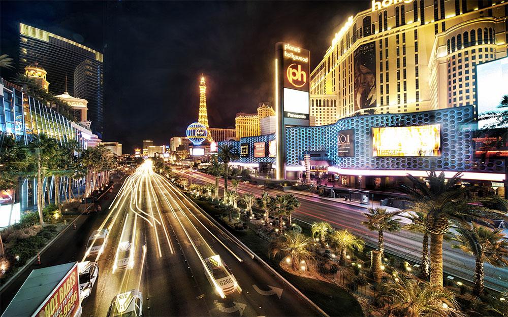 Las Vegas Strip, seen at night.