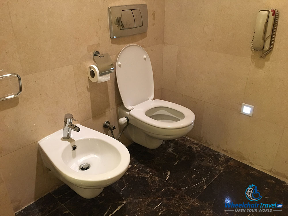 Hotel room toilet and bidet