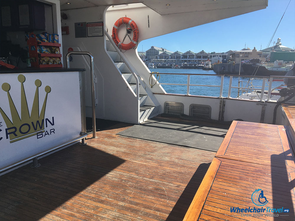 Ship's rear deck with snack bar