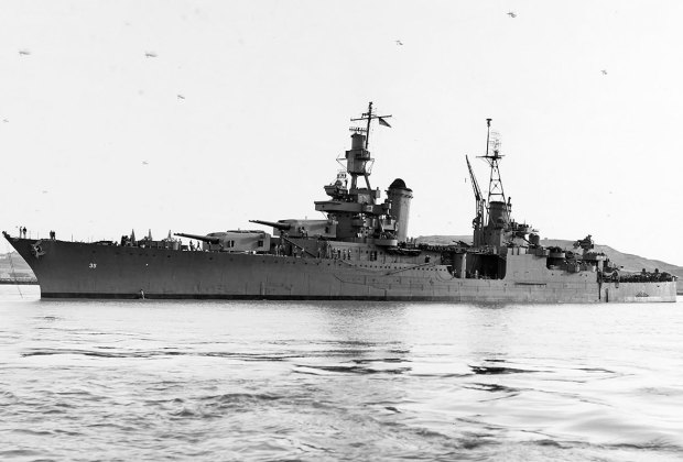 U.S. Military photo of the USS Indianapolis in California.