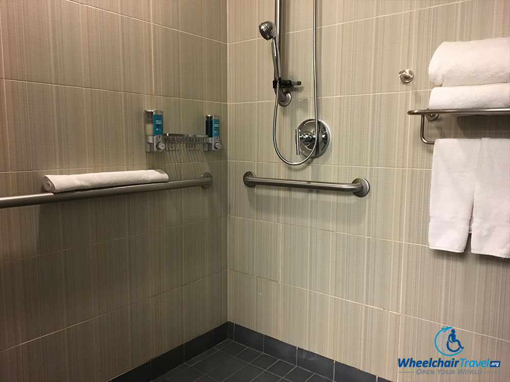 Roll-in shower at Aloft Dallas Downtown hotel.