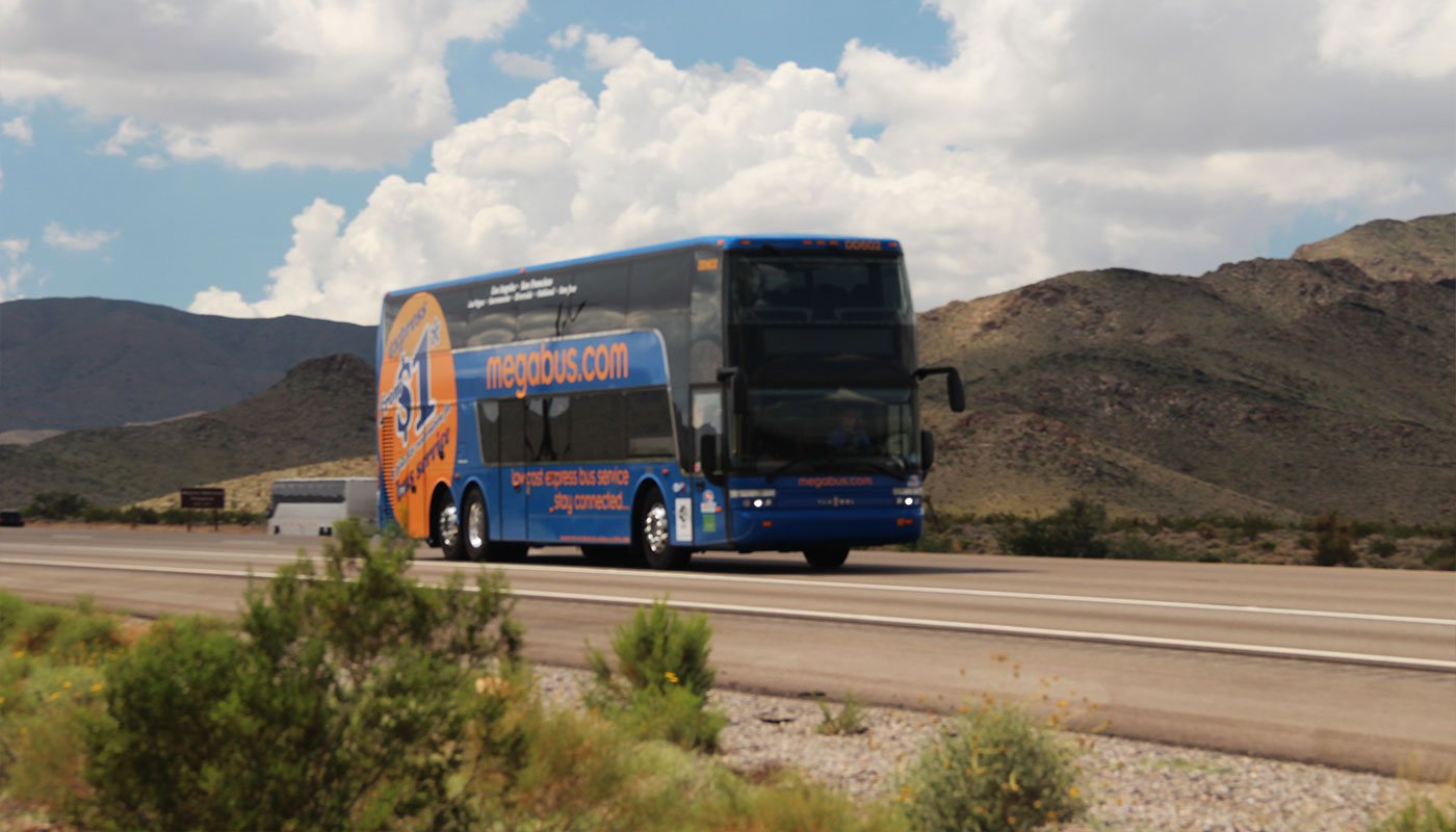 Wheelchair accessible Megabus on the highway.