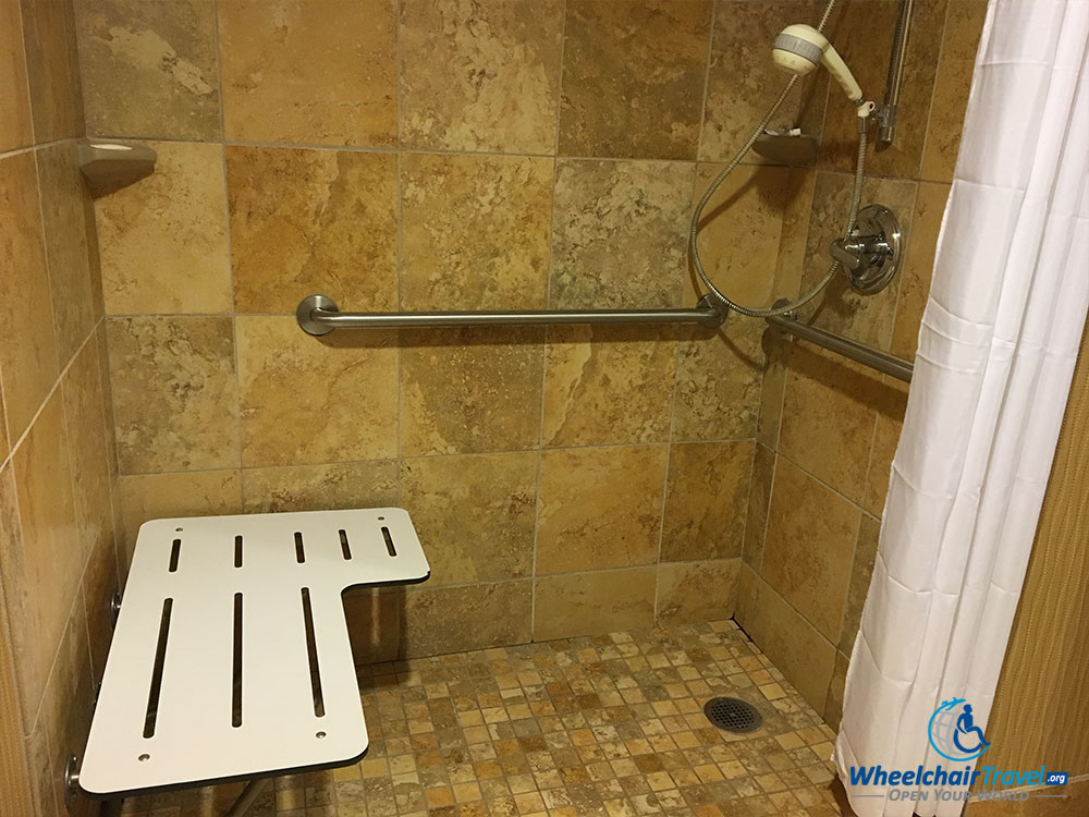Roll In Shower That Is Not ADA Compliant At The Hampton Inn Cleveland  Downtown.