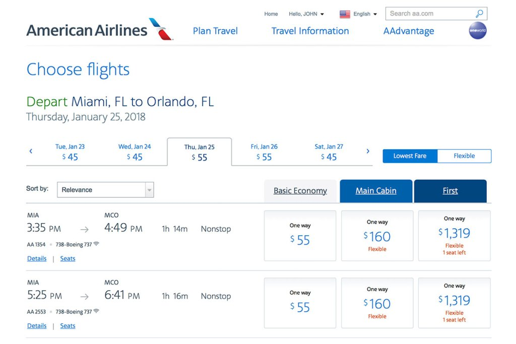 Screenshot of American Airlines basic economy fares from Miami to Orlando e21959a816065