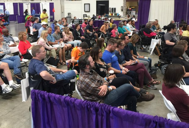 Crowd at John's wheelchair travel workshop, Abilities Expo Washington, D.C.
