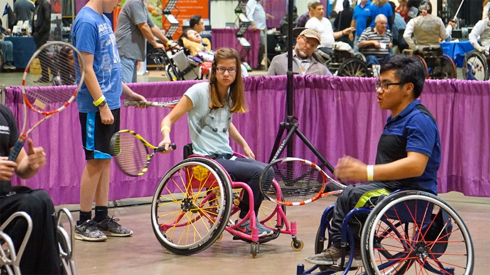 Wheelchair tennis at the Abilities Expo.