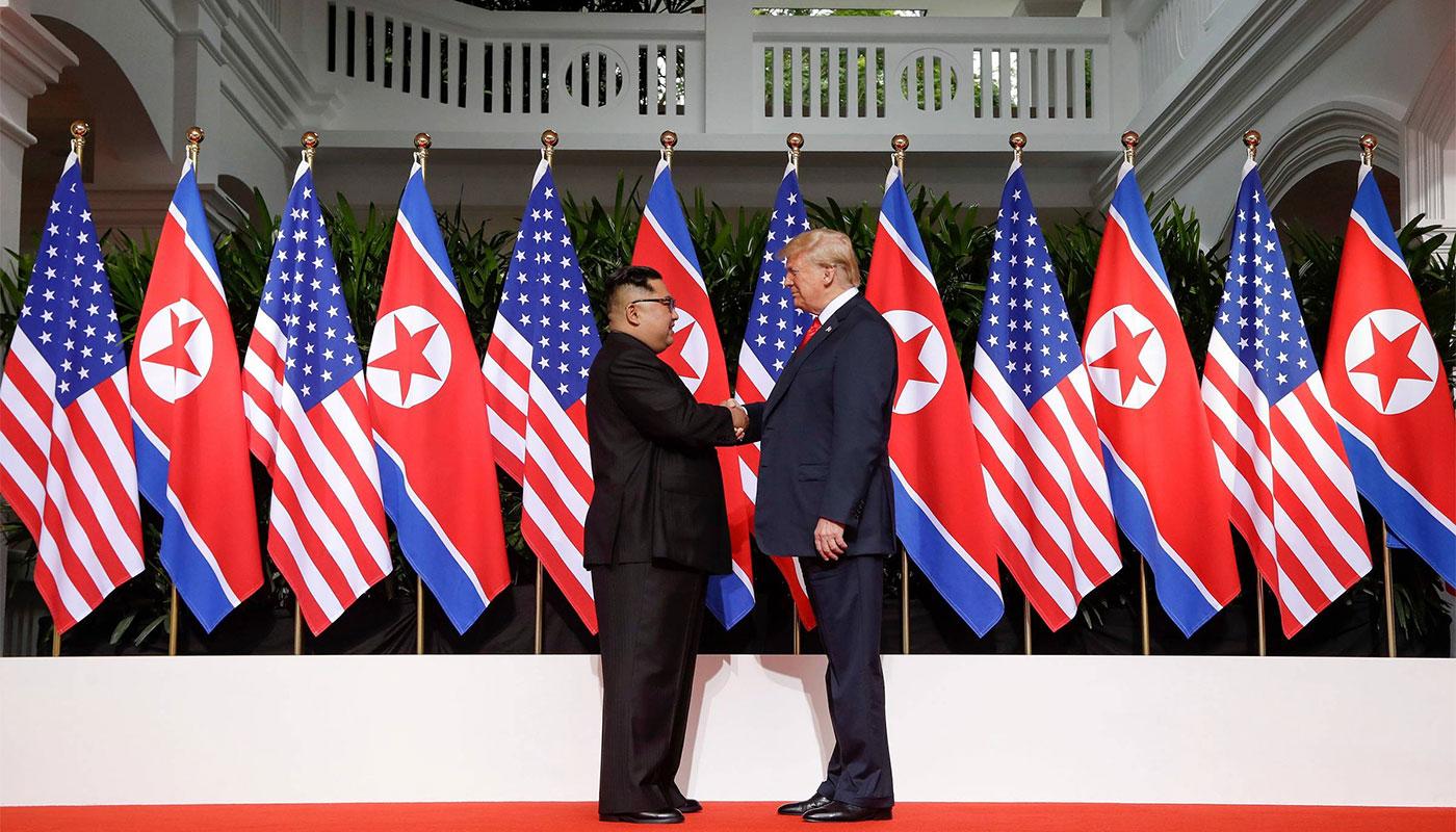 Historic meeting between United States President Donald Trump and North Korean Chairman Kim Jong-un.