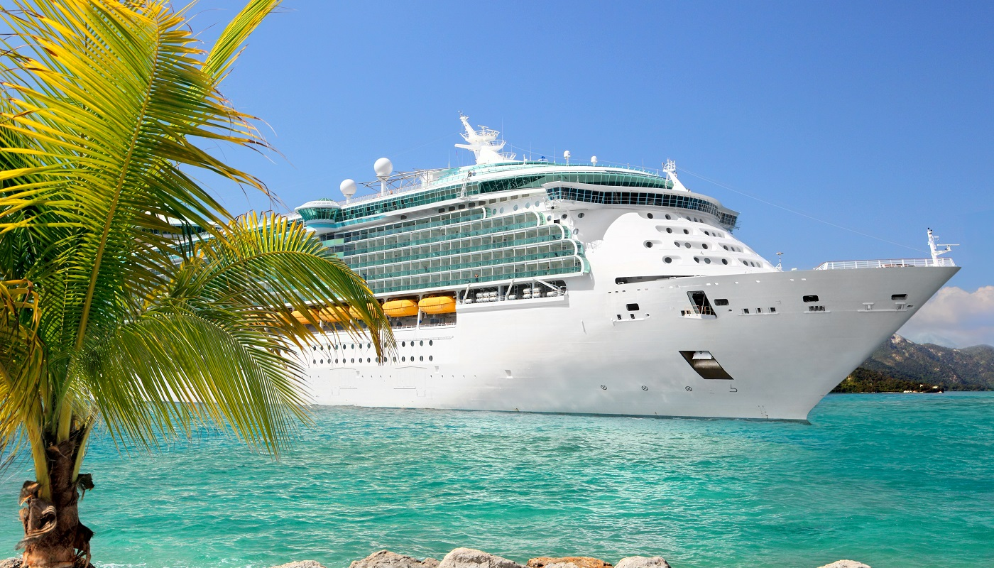 Cruise ship in a beach destination.