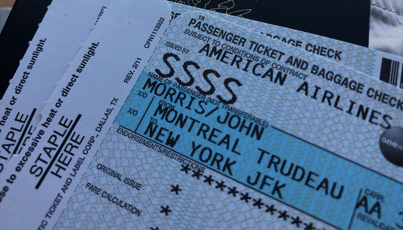 Boarding pass with SSSS designation.