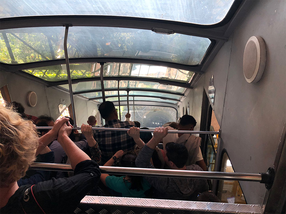 Interior of the funicular.