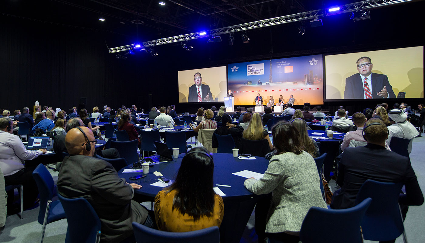 Stage at the 2019 IATA Global Accessibility Symposium.
