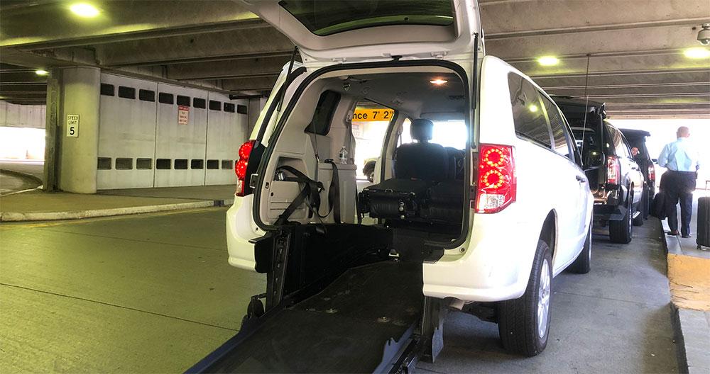 Lyft Access van with wheelchair ramp at Boston Logan Airport.