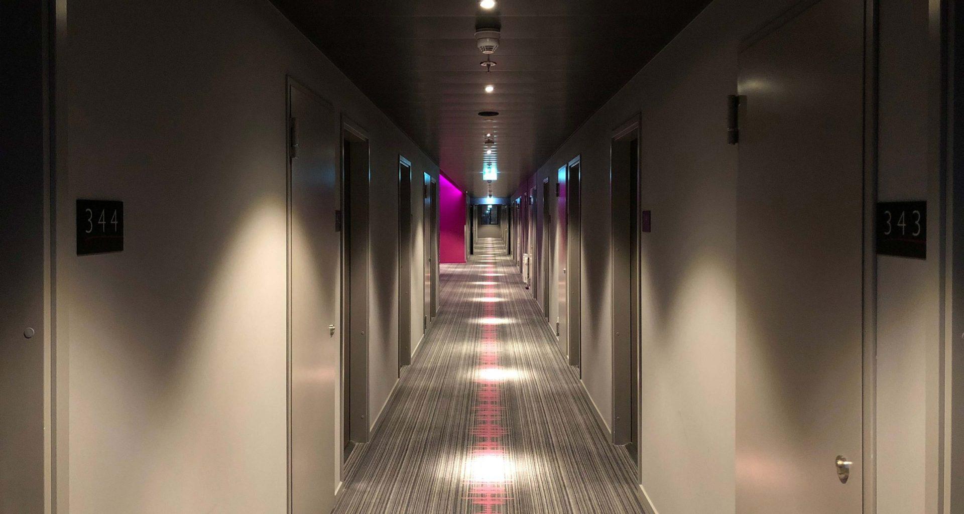 Hotel guest room floor.