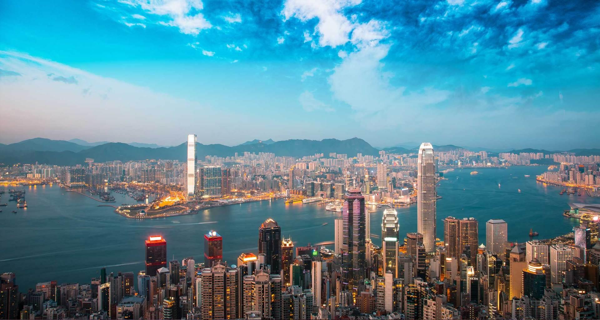 Hong Kong, China skyline.