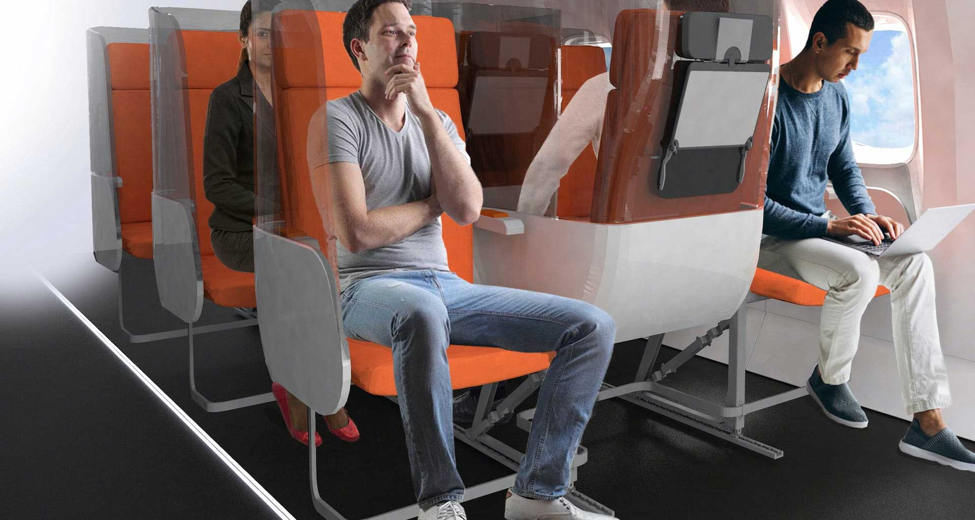 Airplane seats with privacy barriers between each seat.