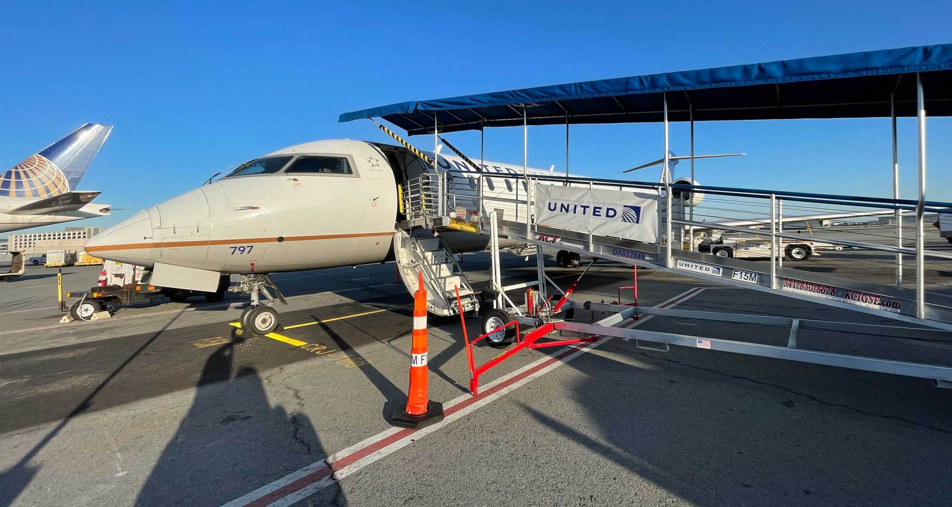 United CRJ-700 aircraft parked at San Francisco International Airport.