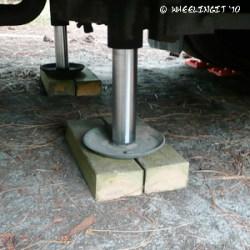 The treated blocks we use under our jacks
