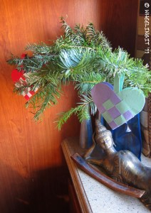 """Our Christmas """"tree"""" (cuttings from Home Depot)"""