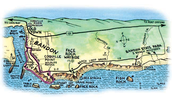 Map of the Bandon Coast. Source: www.oregon.com