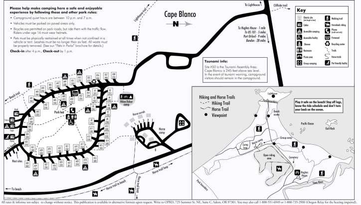 Cape Blanco campground map. The numbers in brackets show site size. Click for larger view.