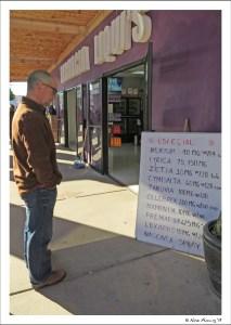 Paul checks out a pharmacy advertizing prescription drugs