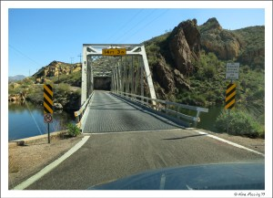 A one-lane bridge crossing on the Apache Trail