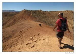 Walking a ridge behind the SKP park in Benson, AZ