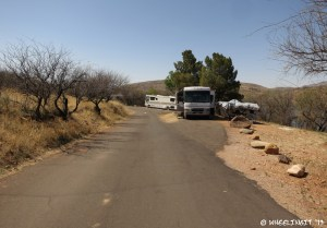 View towards far back of East Campground. RV in #10 on right with #15 behind. Lots of privacy here, but rather uneven.