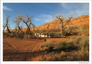 View of our site at Comb Wash near sunset