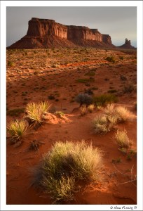 Very first light on Monument Valley buttes