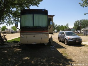 Front view of our site (#6). Very shaded, but the tree threw sap all over our RV