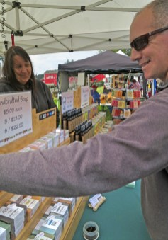 Paul picks out soaps at Ilwaco Market