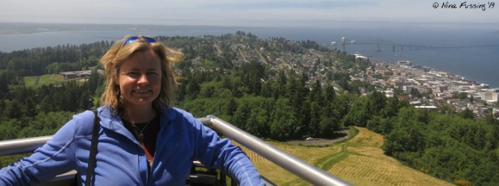 Yours truly poses at the top of Astoria Column