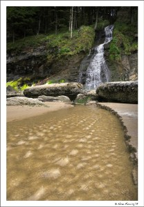 Natural waterfall at Short Sand Beach