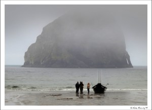 A Dory Boat landing at Kape Kiwanda. That's Haystack Rock in the background.
