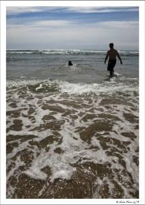 """Paul heads in for a """"full-on"""" dip w/ Polly"""