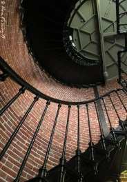 A view up the winding staircase