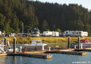 View of our RV site from across the marina.