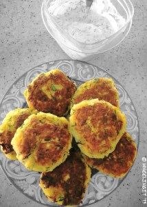 Zuchinni Fritters with dill-lemon dip...just another yummy lunch in the RV!