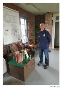 Paul in the workroom (the lower portion of the lighthouse). We have props here!