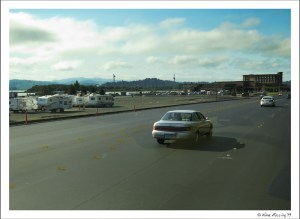 Driving by Mill Casino dry camping area (left) in Coos Bay