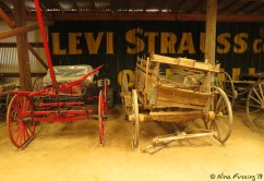 A display of old wagons