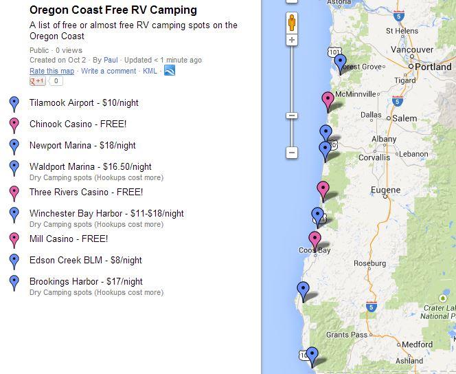 Full hookup campgrounds oregon coast