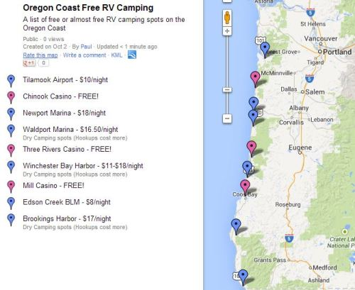Map of Free & Low-Cost Camping Stops on the OR Coast