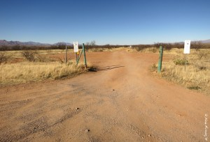 Road entrance to one of the many dirt roads