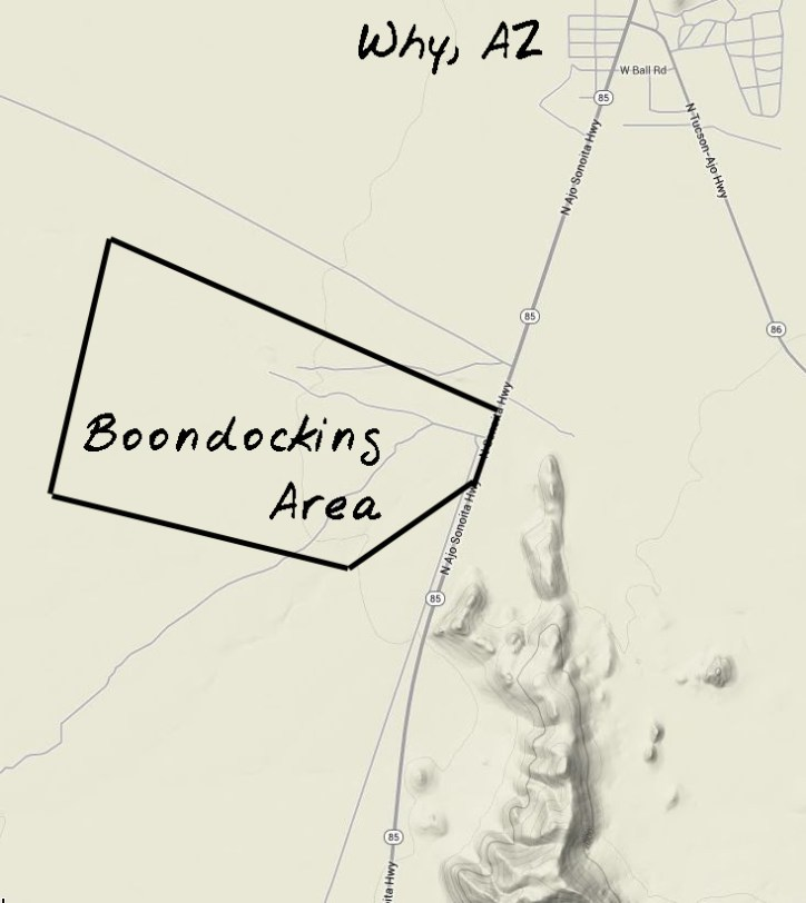 Rough map of Gunsight Wash Boondocking Area. Why, AZ is ~2 miles north.